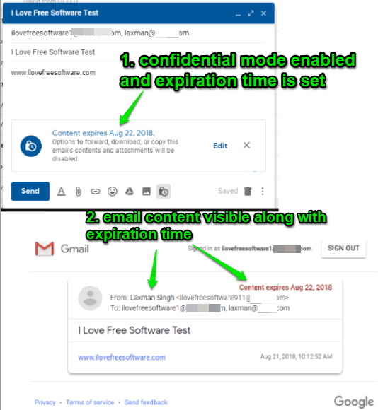 secure and self destructing email created using gmail confidential mode