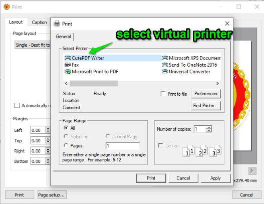 select virtual printer and print output as pdf