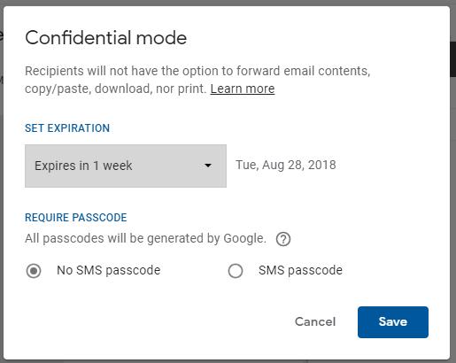 set confidential mode options