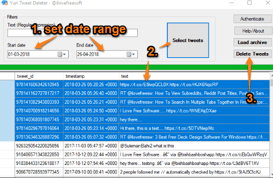 set date range to select tweets and delete them