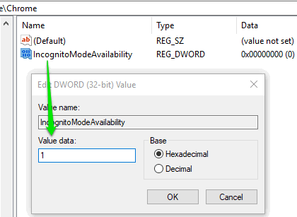 set value data to 1