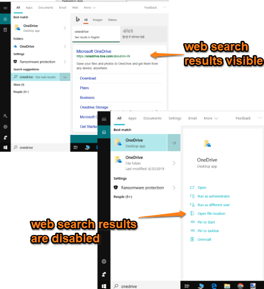 web search results disabled