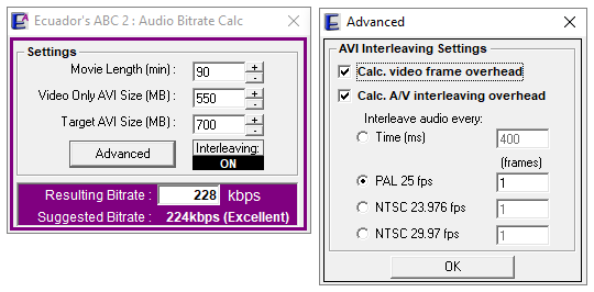 Ecuador audio bitrate calculator software