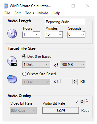 WM9 audio bitrate calculator software