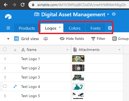 Airtable free asset manager