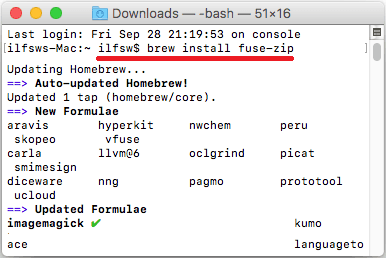Brew install fuse-zip