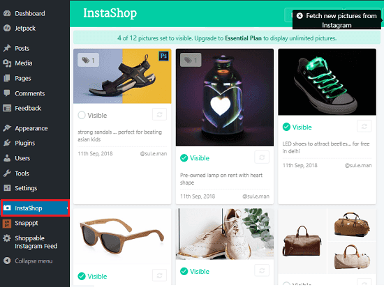 InstaShop showing instagram photos from account