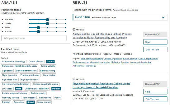 JSTOR Analyzer online tool that suggests reserach articles