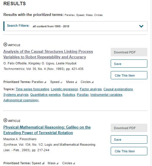 JSTOR Analyzer results