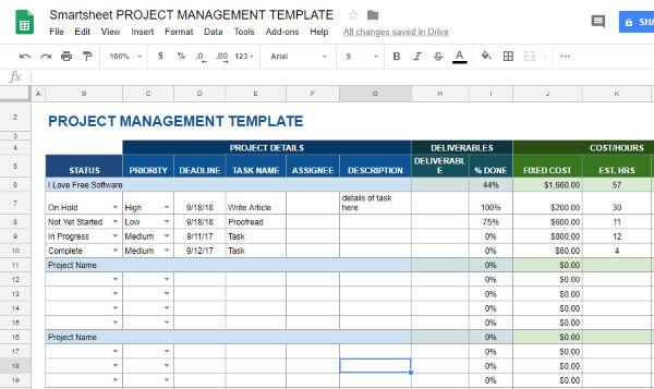 5 free project management templates for google sheets. Black Bedroom Furniture Sets. Home Design Ideas