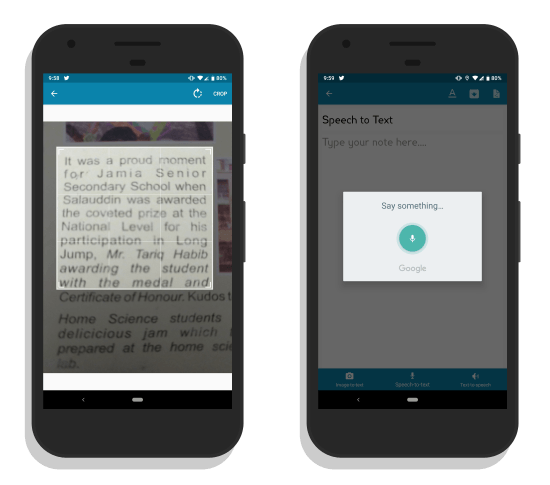 note taking Android app with voice text to speech