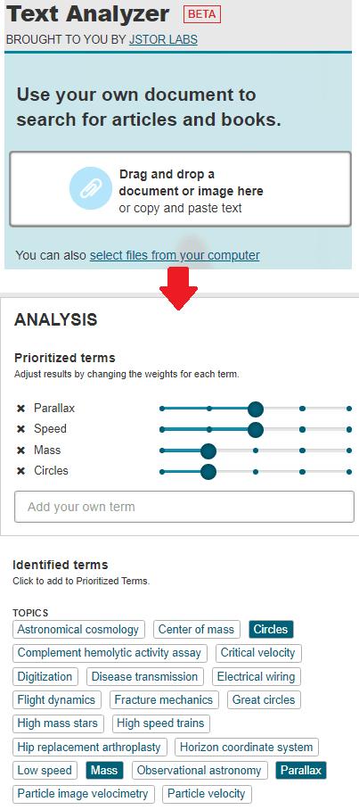 Text Analyzer specify paper's text