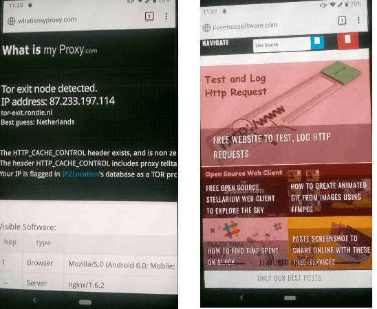 Tor Browser on Android in action