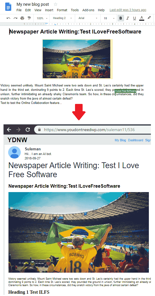 YouDontNeedWp create post and publish