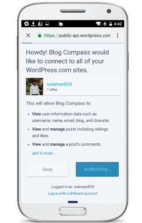 blog compass app authorize app with wordpress