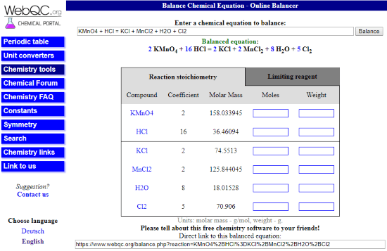 free online chemical equation balancer