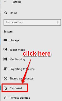 click clipboard option