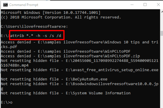 find hidden files using command prompt