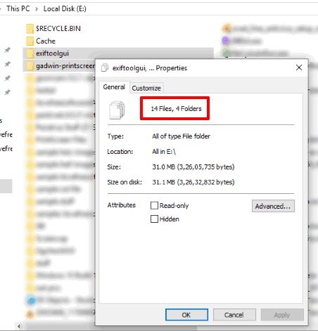 find number of files in folders using properties window