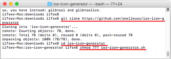git clone app icon generator script and assign permissions