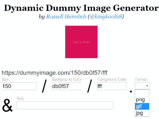 set options to generate dummy image