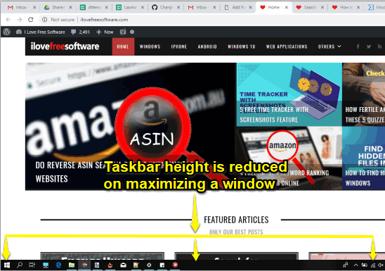 taskbar height reduced