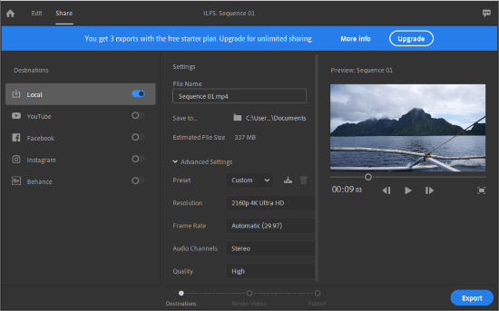 Adobe Premiere Rush CC on Windows 10