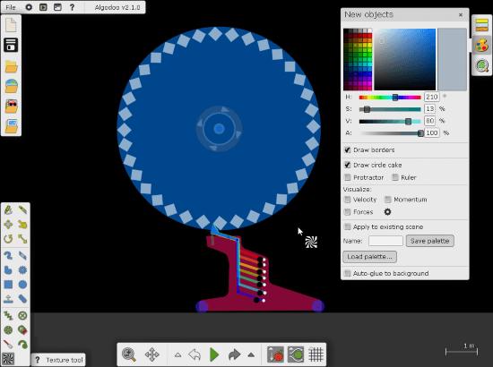 simulate gears with Algodoo