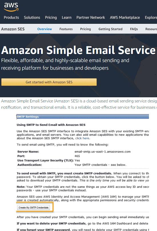 Amazon SES Free SMTP