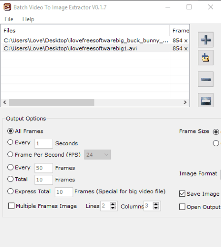 Batch Video To Image Extractor- interface