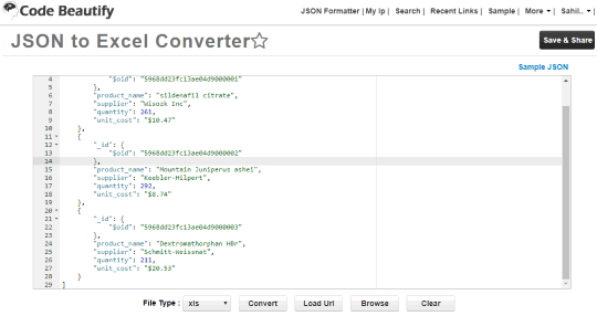 Code Beautify JSON to Excel