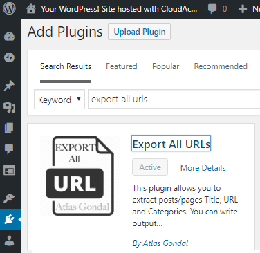 Export all URS wordpress plugin