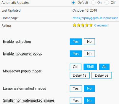 Firefox addon settings Image MAX URL