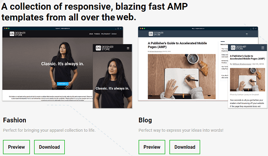 free amp template builder for creating amp website