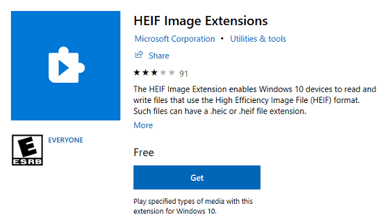 HEIF image extensions to open heic files in windows 10