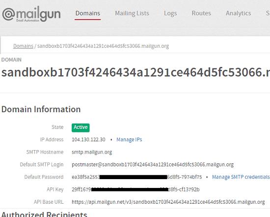 Mailgun free SMTP Server