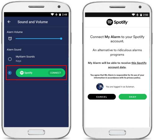 MyAlarm connect Spotify