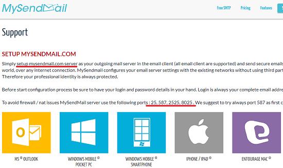 MySendMail free SMTP server