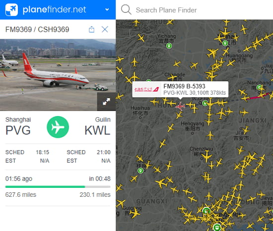 Planefinder.net free air traffic tracker