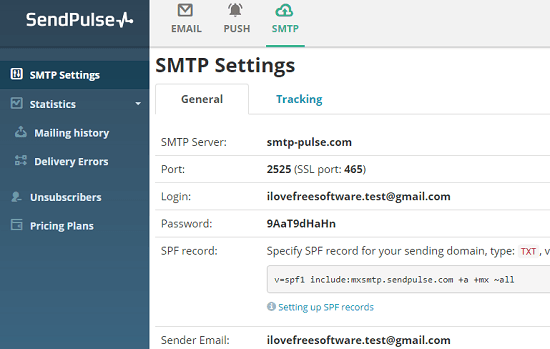 SendPulse free SMTP server