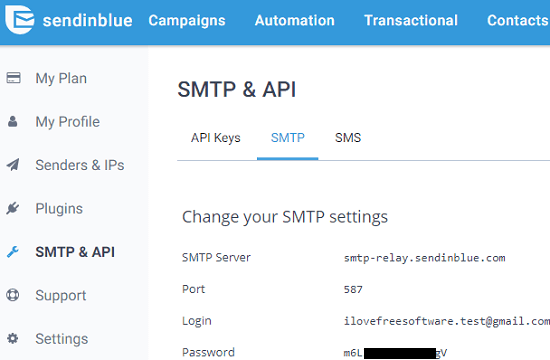 SendinBlue Free SMTP Server