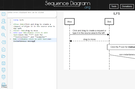 free online sequence diagram maker website