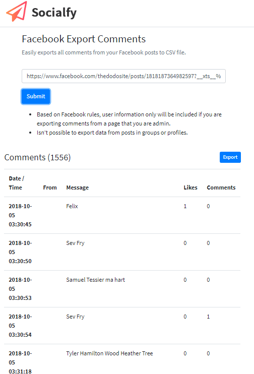 Socialfy export facebook comments to Excel free