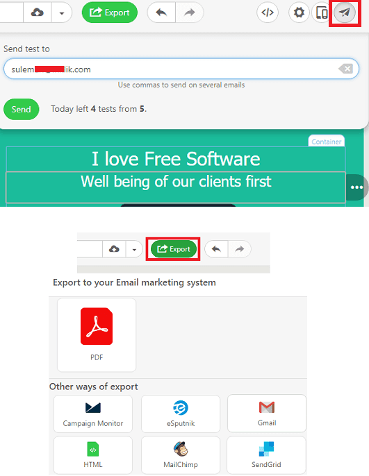 Stripo Send Test Email, Export Template