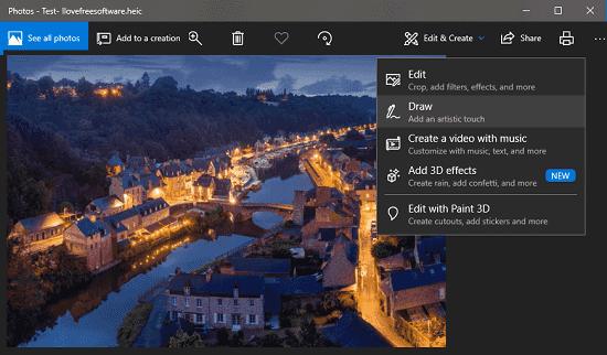 Windows 10 Photos App viewing HEIC file
