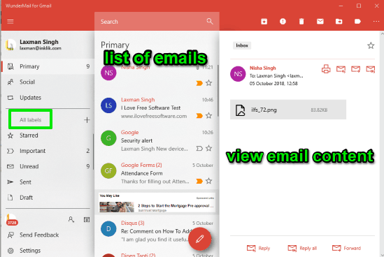 WunderMail for Gmail- interface