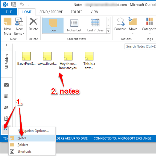 access notes in microsoft outlook
