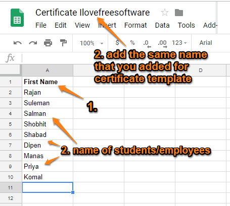 create google slides file with names and save it with same name as certificate template