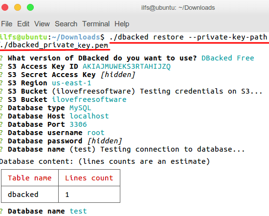 dbacked restore backup