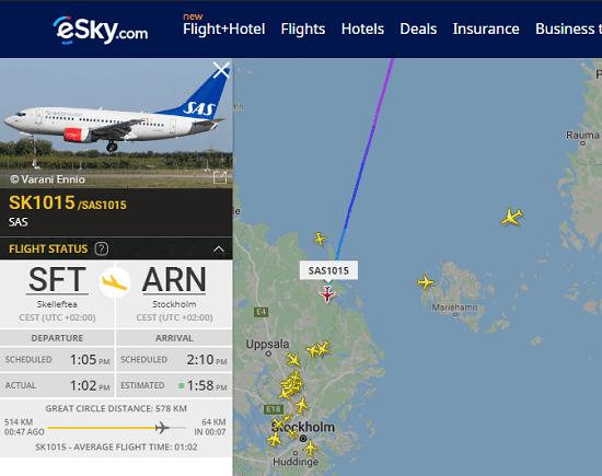 eSky free air traffic viewer website